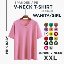 (promo) xxl kaos polos wanita V-neck - pink, XXL