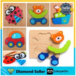 Mainan Kayu Edukatif + Puzzle Kayu Warna Bentuk Hewan & Kendaraan