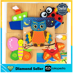 Wooden Puzzle Timbul - PUZZLE KAYU HEWAN - Mainan Anak Perkembangan