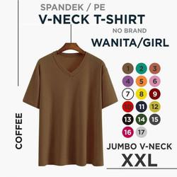 (promo) xxl kaos polos wanita V-neck - caffee, XXL