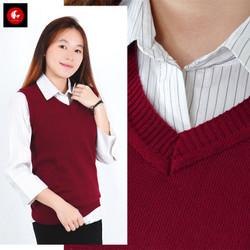 Rompi rajut wanita model polos V Neck Knit Vest Rompi Seragam Sekolah - merah maroon, L