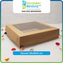 Dus brownies / kue Bahan Kraft Laminasi Uk20x20x5 cm kelipatan 25 pcs