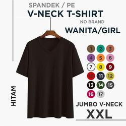 (promo) xxl kaos polos wanita V-neck - Hitam, XXL