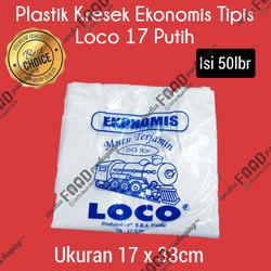 Kantong plastik kresek LOCO ekonomis putih uk. 17 (50lbr)