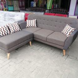 sofa l minimalis retro + meja - tanpa meja
