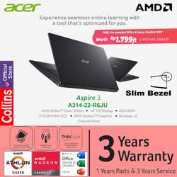 """Acer Aspire 3 Slim A314-22 AMD Athlon 3050U 4GB SSD 512GB 14"""" W10 OHS"""