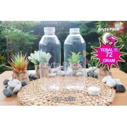 PET2652. Botol plastik kale bulat 1liter tebal 72gram tutup putih