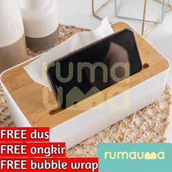 RUMAUMA Wood Tissue Box With Smartphone Holder - Kotak Tissue Kayu