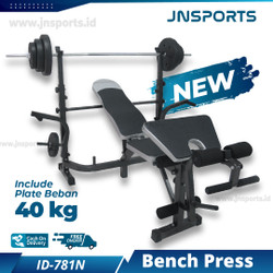 Alat Fitness Home Gym Bench Press ID-781 Include Beban 40kg dan Stick