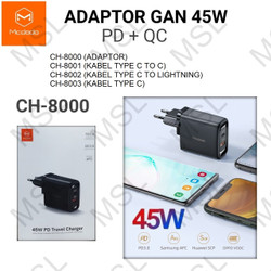 Mcdodo Charger 45W Type C VOOC QC3.0 SuperCharge Fast Charging CH-8000