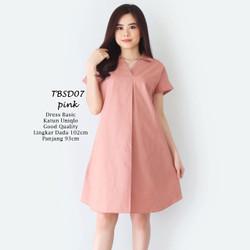 Dress Midi Flare Wanita Basic Polos PALING LARIS Casual Formal TBSD07 - Merah Muda