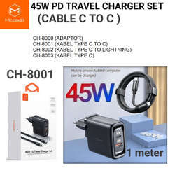 Mcdodo Charger 45W + Kabel Type C to Type C PD QC3.0 Fast CH-8001