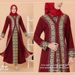 gamis arab/abaya turkey bordir /warna maroon #1081 - Merah, M
