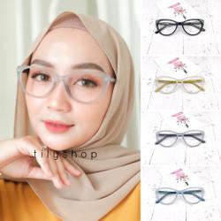 Paket Frame Kacamata Minus / Normal Anti Radiasi Cat Eye Lolly 8013
