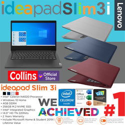 """LENOVO IDEAPAD SLIM 3I - N4020 4GB SSD 256GB 14"""" INTEL UHD W10 OHS"""