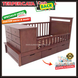 Box bayi kayu laci murah, ranjang minimalis modern