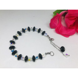 Gelang Bracelet Perhiasan Black Onyx mix Swarovski Ori