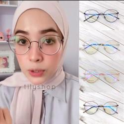 Paket Frame kacamata Minus / Normal Anti Radiasi Cat Eye 730 Besi