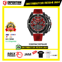 JAM TANGAN PRIA EXPEDITION E3009 E 3009 MC Black RED ORIGINAL