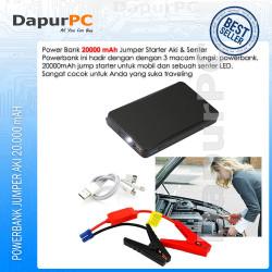 Jumper Aki Portable 12V 2000 mAh Mobil dan Motor Power Bank Senter Led