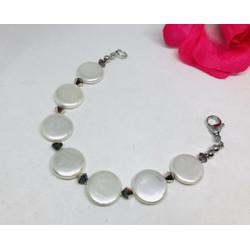 Gelang Bracelet Wanita Shell Button mix Swarovski Ori