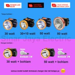 Headlamp head lamp lampu senter kepala super sepeda 30w 30+10w 50w 80w - 50 watt, Kuning