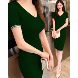 Dress Kerah V List Putih Rajut Green [Dress 0133] TK0