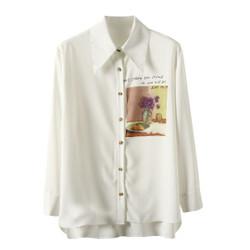 Baju Atasan Blouse Korea White Wise Text sz L Import F-514314