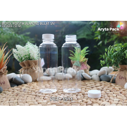 PET1911. Botol plastik 250ml minuman pet almond tutup segel putih
