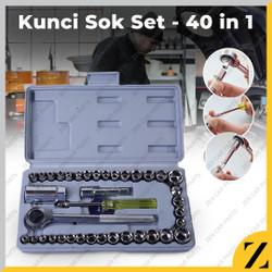Kunci Sok Shock 40 Pcs AIWA Multipurpose Combination Socket Wrench Set