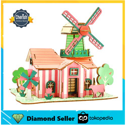 Puzzle 3D Kayu Rumah TULIP FARM - Mainan DIY Dari Kayu   B-030
