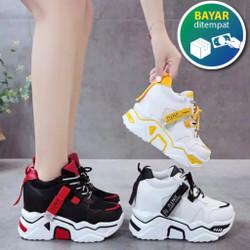 Sepatu Wanita Korea Sneakers Jintu Putih Kuning