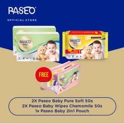 [Limited Free Pouch Paseo Baby 2in1] Pure Soft Travel Care Package