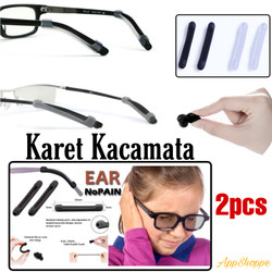 Karet Penahan Kacamata Anti Slip Silicon Rubber Sunglasses 2pcs - BLACK