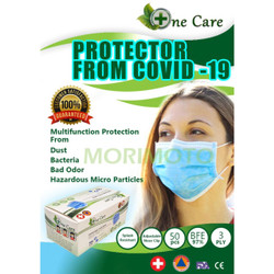MASKER 3PLY ISI 50PCS ONE CARE EARLOOP 3 PLY MEDICAL GRADE MASK - ONE CARE BIRU