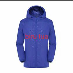 Jaket running Pria/Wanita Anti UV Waterproof Parasut - biru tua, L