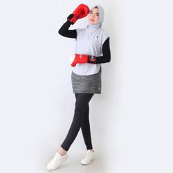 HITJAB - Rompi Vest Luaran Hijab Sport Olahraga Utk Lari Senam Sepeda - VEST GREY
