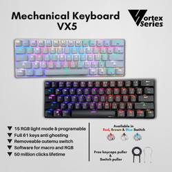 VortexSeries Mechanical Keyboard VX5 - Hitam, Outemu Red