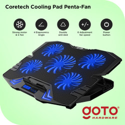 Coretech Penta-Fan Cooling Pad Kipas Fan Pendingin Laptop Portable - Hitam