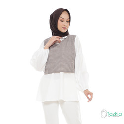 Atasan Muslim Wanita | Yuzu Blouse Cokelat | S M L XL | Gingham Top - XL