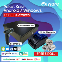 PAKET KASIR ANDROID BLUETOOTH (CASH DRAWER+PRINTER+SCANNER+KERTAS)