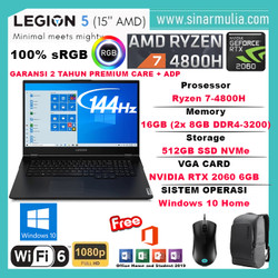 Lenovo Legion 5 Ryzen 7 4800H RTX2060 6GB 512GB SSD 16GB WIN10+OHS