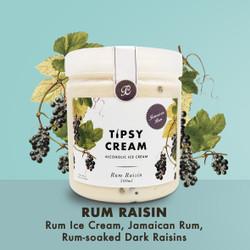 Rum Raisin Alcoholic Ice Cream - Tipsy Cream Jamaican Rum