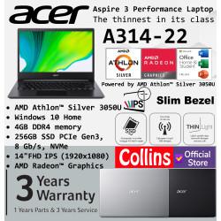 """Acer Aspire 3 Slim A314-22 AMD Athlon 3050U 4GB 256GB 14"""" FHD W10 OHS"""