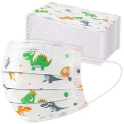 Masker anak 3 ply 3ply Kids Child mask motif Earloop 1box isi 50 Pcs - White Dino
