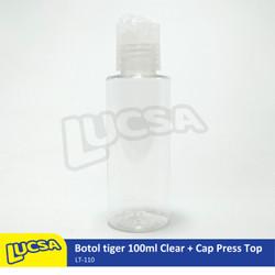 Botol Tiger 100ml Clear Neck Pendek + Cap Press Top Bottom Natural
