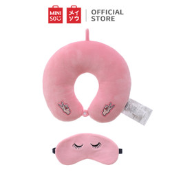 MINISO Bantal Leher Dengan Penutup Mata Eye Mask U Pillow Girl Power - Merah Muda