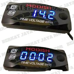 Voltmeter 2in1 Buat Di Motor dan Mobil Jam Digital Voltmeter 2 in 1
