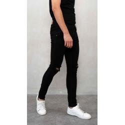celana jeans hitam sobek ripped slim fit denim slim fit houseofcuff