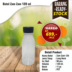 botol jelly 100 ml (12gr) / botol zam zam 100 ml (Short Neck)